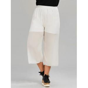 Chiffon Plus Size Dressy Flowy Crop Pants - White - 4xl