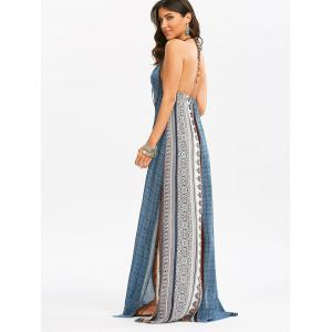Maxi Backless Bohemian Slit Printed Casual Dress - Colormix - M