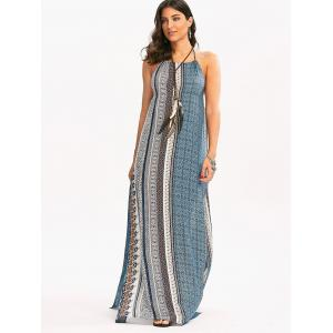 Maxi Backless Bohemian Slit Printed Casual Dress - COLORMIX L