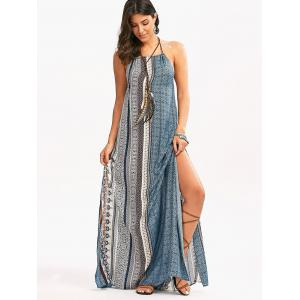 Maxi Backless Bohemian Slit Printed Casual Dress -