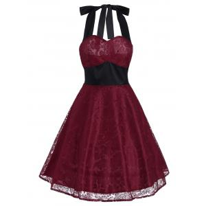 Vintage Lace Panel Contrast Flare Dress - Deep Red - M