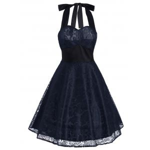 Vintage Halter Lace Panel Contrast Flare Dress