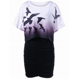 Birds Ombre Tee and Bodycon Slip Dress - Purple - Xl