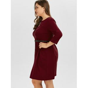 Plus Size V Neck Button Up Dress - WINE RED 4XL