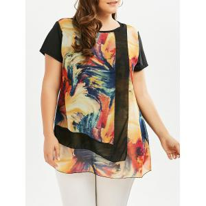 Plus Size Short Sleeve Printed Tunic Top