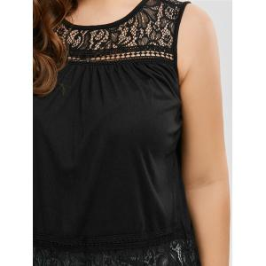 Back Slit Lace Trim Sleeveless Plus Size Top -