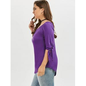 Plus Size Tied Sleeve Off The Shoulder Top - PURPLE 5XL