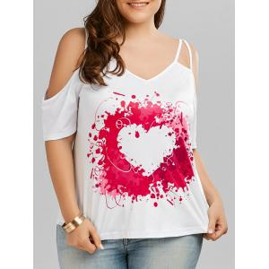 Plus Size Heart Painting Print Cold Shoulder Top - Red - 5xl