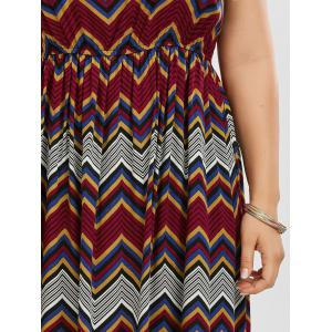 Printed Elastic Waist Plus Size Swing Dress - CLARET 3XL