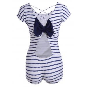 Stripe Criss Cross Bowknot One Piece Swimsuit