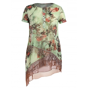 Plus Size Layered Tassel Chiffon Floral Tunic Top - Light Green - 5xl