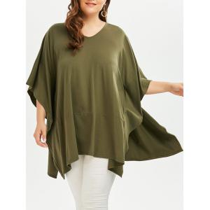 Plus Size Batwing Sleeve V  Neck Plain T-shirt - Army Green - One Size