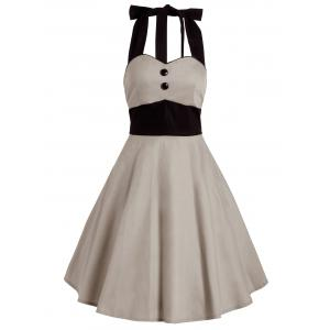 Vintage Contrast Halter Flare Dress