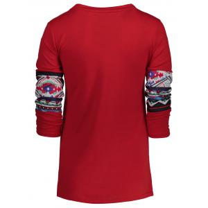 Patterned Pocket Tee - RED M
