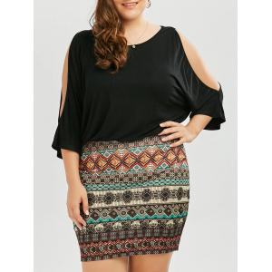 Batwing Sleeve Tribe Plus Size Dress - Black - Xl