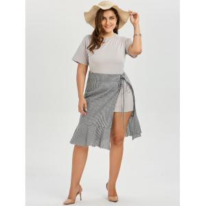 Plus Size T-shirt Dress and Plaid Wrap Mermaid Skirt Twinset - GRAY 2XL