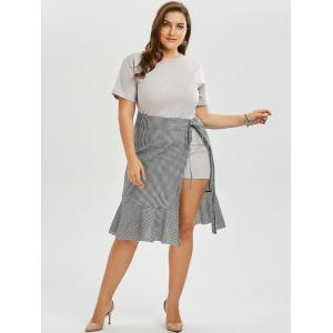 Plus Size T-shirt Dress and Plaid Wrap Mermaid Skirt Twinset - GRAY 5XL