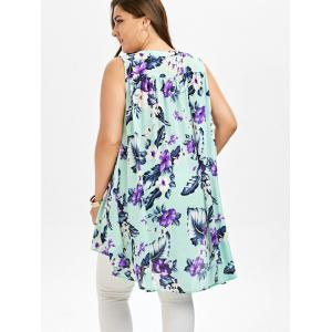 Floral Sleeveless Plus Size Tunic - LIGHT GREEN 5XL
