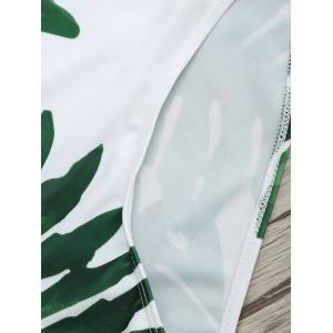 Flounce Tropical Off Shoulder Print Swimsuit - WHITE AND GREEN S