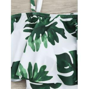 Flounce Tropical Off Shoulder Print Swimsuit - WHITE AND GREEN L