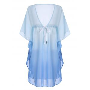 Chiffon Drawstring Sheer Ombre Tunic Cover-Up -