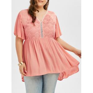 Plus Size Lace Panel High Low Blouse - Pink - 4xl