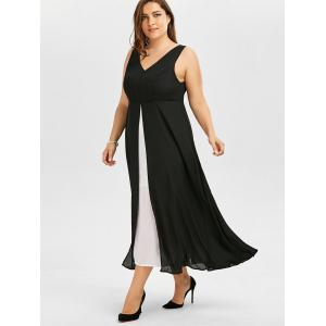 Color Block Plus Size V Neck Long Dress -