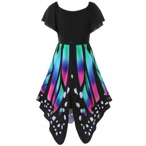 Butterfly Graphic Dress - BLACK/PINK 2XL