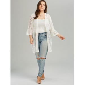 Bell Sleeve Plus Size See Through Lace Cover Up Kimono - WHITE 3XL