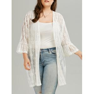 Bell Sleeve Plus Size See Through Lace Cover Up Kimono - White - 2xl