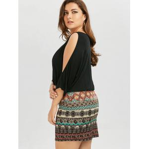 Batwing Sleeve Tribe Plus Size Dress - BLACK 2XL