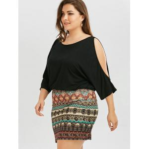 Batwing Sleeve Tribe Plus Size Dress - BLACK 4XL