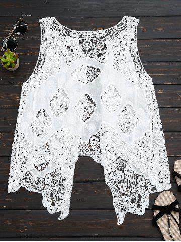 Outfit See Thru Crochet Asymmetric Top - ONE SIZE WHITE Mobile