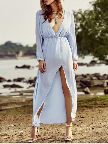 Trendy Plunging Neck Back Cut Out High Slit Maxi Dress For Women