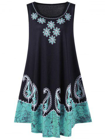 Plus Size Sleeveless Floral and Paisley Dress - Turquoise - 4xl