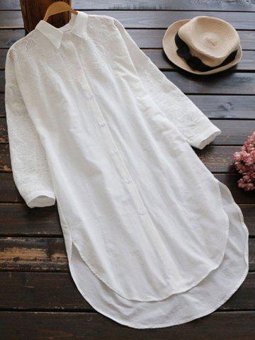 Fashion Casual High Low Embroidered Shift Shirt Dress