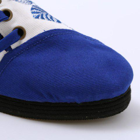 Hot Embroidery Lace Up Flat Shoes - 37 BLUE Mobile