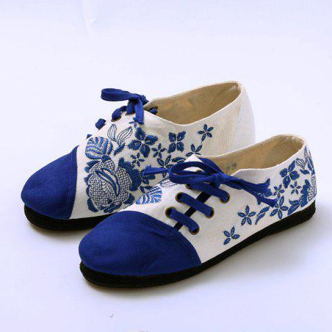Store Embroidery Lace Up Flat Shoes - 37 BLUE Mobile