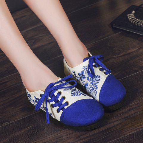 Cheap Embroidery Lace Up Flat Shoes - 37 BLUE Mobile