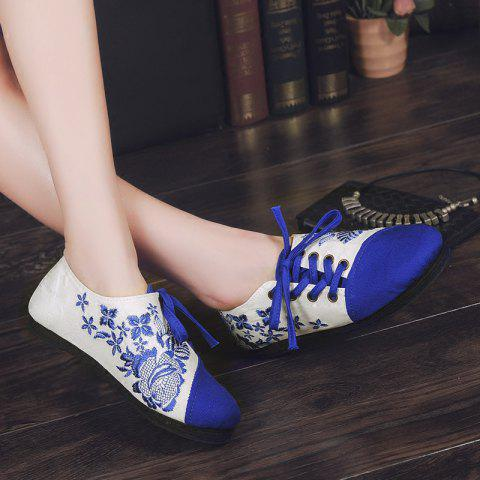 Fancy Embroidery Lace Up Flat Shoes - 37 BLUE Mobile