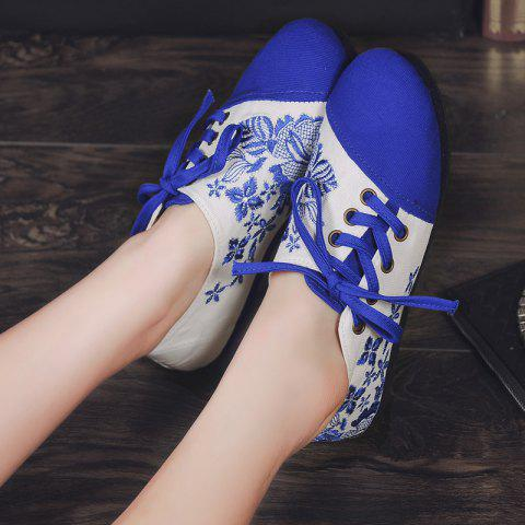 Outfits Embroidery Lace Up Flat Shoes - 37 BLUE Mobile