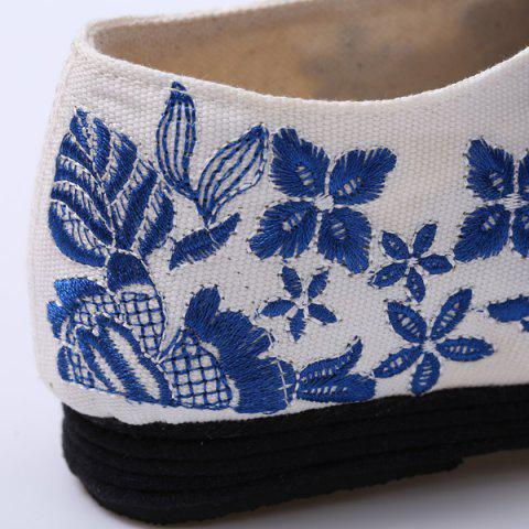 Discount Embroidery Lace Up Flat Shoes - 37 BLUE Mobile