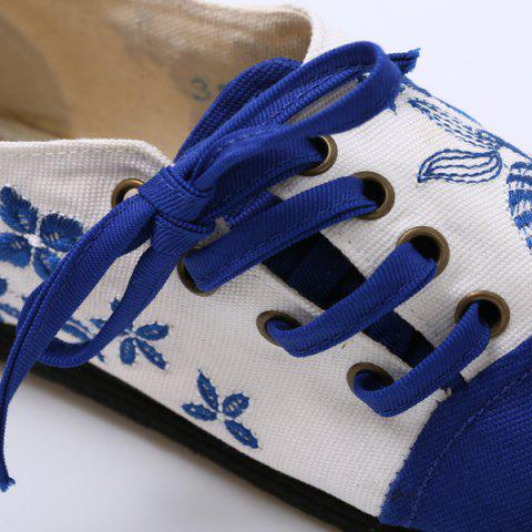 Fashion Embroidery Lace Up Flat Shoes - 37 BLUE Mobile