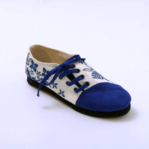 Buy Embroidery Lace Up Flat Shoes - 37 BLUE Mobile