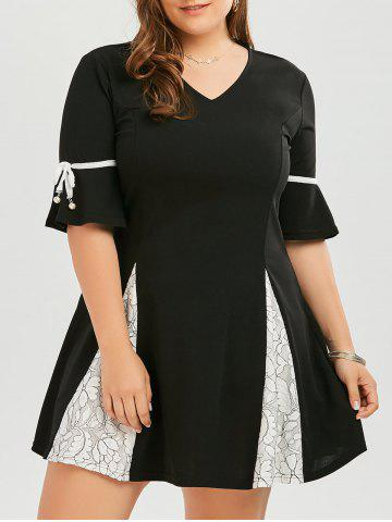 Plus Size Lace Panel Flare Sleeve Skater Dress - Black - 5xl