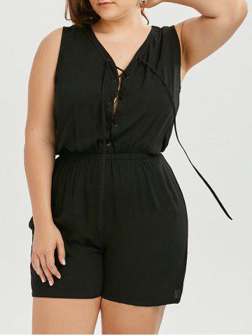 Online Plus Size Lace Up Sleeveless Romper - 2XL BLACK Mobile