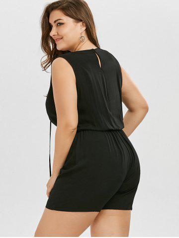 Outfits Plus Size Lace Up Sleeveless Romper - 2XL BLACK Mobile