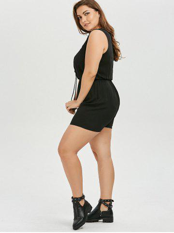 New Plus Size Lace Up Sleeveless Romper - 2XL BLACK Mobile