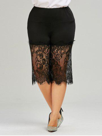 Buy Lace Trim Wide Leg Plus Size Pants - XL BLACK Mobile