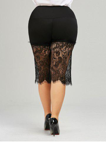 Hot Lace Trim Wide Leg Plus Size Pants - XL BLACK Mobile